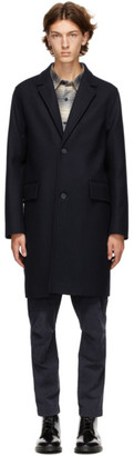 Officine Generale Navy Wool and Cashmere Coat