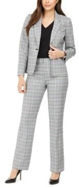 Le Suit Plaid Notch-Collar Pantsuit