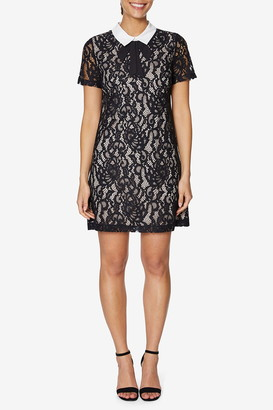 Betsey Johnson Lace Neck Tie Shift Dress