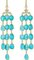 Penny Preville 18k Turquoise & Diamond Triple-Strand Drop Earrings