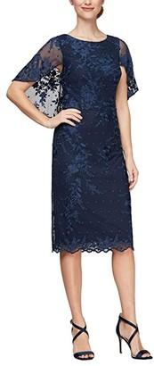 Alex Evenings Lace Capelet Sheath Dress (Navy) Women's Dress