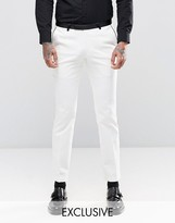 Noose & Monkey Super Skinny Suit Trousers With Contrast Piping And Stretch