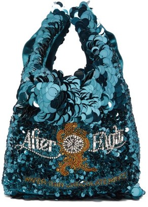 Anya Hindmarch After Eights Sequinned Recycled-satin Tote Bag - Blue Multi