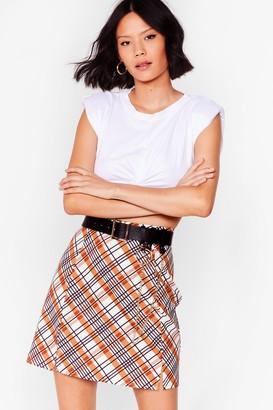 Nasty Gal Womens Check Up on Them Slit Mini Skirt - Beige - 6