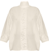 Awake High-neck lace-panel striped top