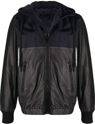 Diesel Hooded Fabric-Mix Jacket