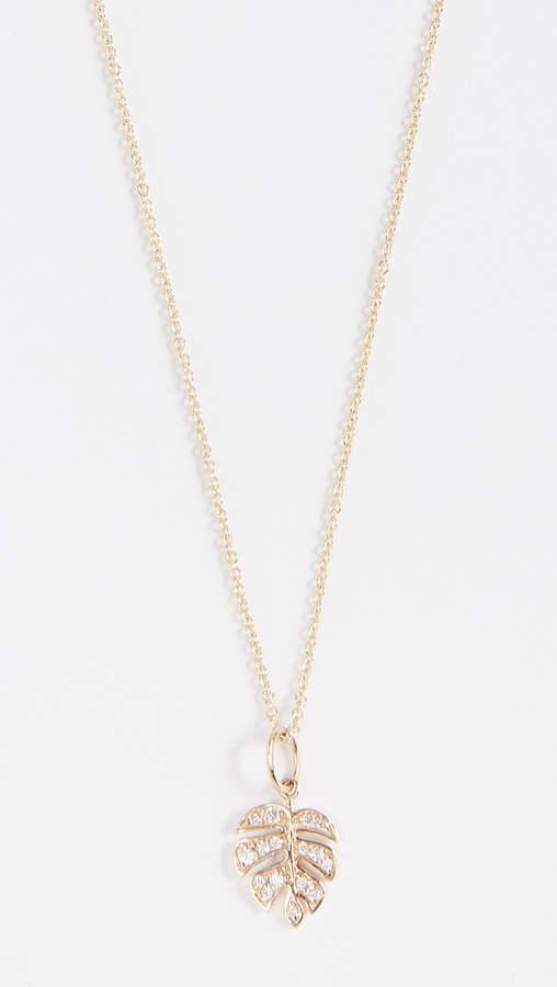 Sydney Evan Small Monstera Leaf Charm Necklace