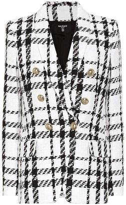 Balmain Checked cotton-blend tweed blazer