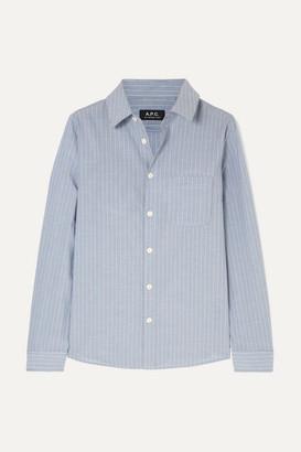 A.P.C. Striped Cotton-poplin Shirt - Light blue