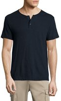 Theory Nayte Short-Sleeve Slub Henley T-Shirt, Eclipse
