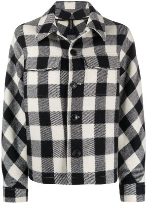 AMI Paris Oversized Checkered Buttoned Jacket
