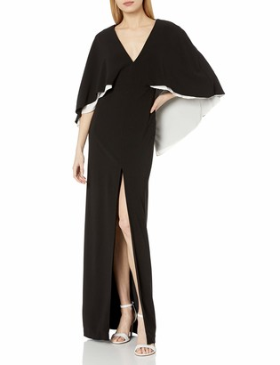 Halston Women's Colorblocked Cape Sleeve V Neck Gown
