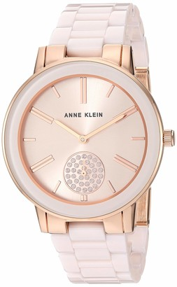 Anne Klein Women's Swarovski Crystal Accented Rose Gold-Tone and Light Pink Ceramic Bracelet Watch AK/3502LPRG