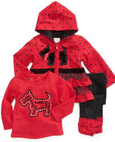 Nannette Baby Set, Baby Girl 3 Piece Hooded Jacket, Shirt and Legging Set