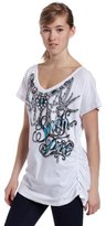 Southpole Juniors Plus Size Jeweled V-Neck Side Ruched Tee