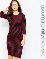Asos Bodycon Dress In Cutabout Stripe