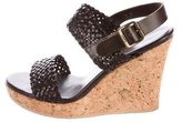 KORS Leather Woven Wedges