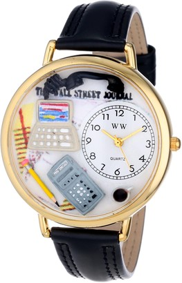 Whimsical Watches Accountant Black Padded Leather and Goldtone Unisex Quartz Watch with White Dial Analogue Display and Multicolour Leather Strap G-0610005