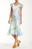 Komarov V-Neck Flutter Sleeve Dress