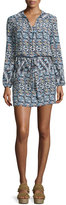 Tory Burch Long-Sleeve Printed Shirtdress, Riviera Blue Acoma