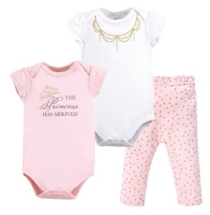 Little Treasure Baby Girl Bodysuit, Pant and Shoes Set