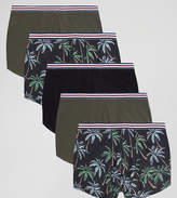 Asos PLUS Trunks With Floral Print 5 Pack