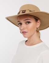 Asos Design DESIGN felt matador hat with multi ring strap with size adjuster in tan
