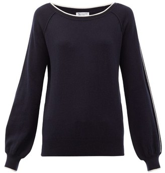 Johnstons of Elgin Johnston's Of Elgin - Lilla Sleeve-stripe Cashmere Sweater - Navy White