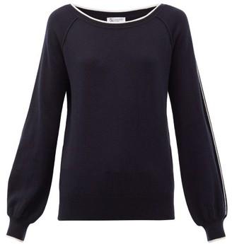 Johnstons of Elgin Johnston's Of Elgin - Lilla Sleeve-stripe Cashmere Sweater - Womens - Navy White
