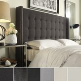 Inspire Q Marion Nailhead Wingback Button Tufted Full Size Headboard by