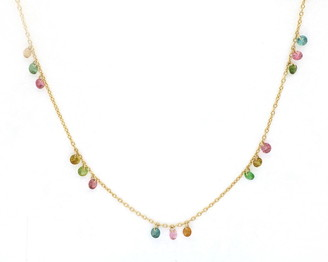 Bony Levy Iris 18K Yellow Gold Mixed Tourmaline Floating Necklace