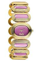 Dolce & Gabbana Women's Quartz Watch with Pink Dial Analogue Display and Gold Stainless Steel Strap DW0621