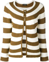 Twin-Set striped open front cardigan