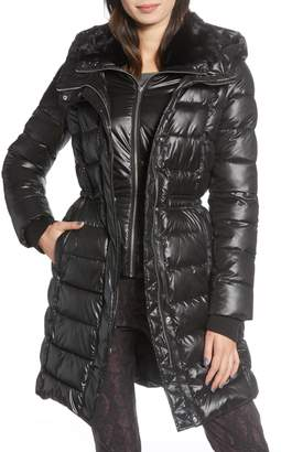French Connection Faux Fur Lined Puffer Jacket with Inset Bib