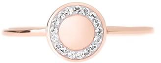 Evoke Rose Gold Plated Sterling Silver Swarovski Crystals 7.7mm Round Ring