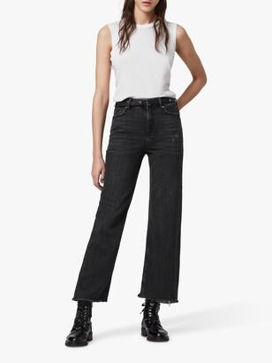 AllSaints Ash High Waisted Boyfriend Jeans, Washed Black