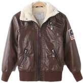 LJYH Europe fall and winter baby child leather jacket plus thick cotton jacket