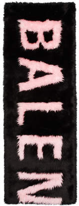 Balenciaga Black and Pink Faux-Fur Giant Scarf