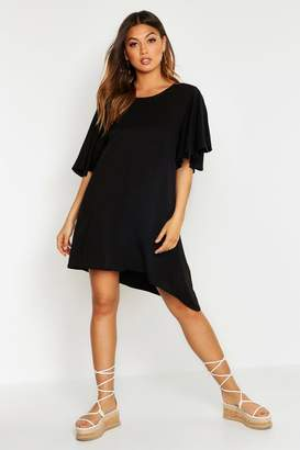 boohoo Woven Angel Flutter Sleeve Shift Dress