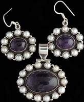 Exotic India Amethyst Pendant with Cultured Pearl Border and Matching Earrings Set - Sterling Silver