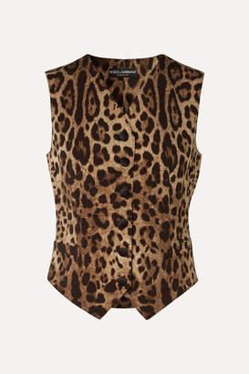 Dolce & Gabbana Leopard-print Wool-blend Vest - Brown