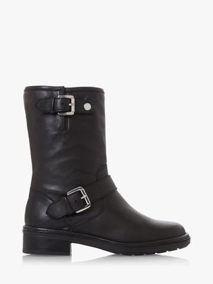 Dune Raffle Leather Buckle Calf Boots, Black