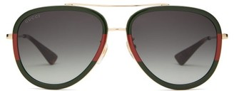 Gucci Web-stripe Aviator Metal Sunglasses - Gold