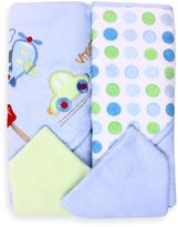 SpaSilk Airplane 2-Pack Hooded Towel and Washcloth Set in Blue