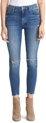Mother The Looker High Waist Frayed Ankle Skinny Jeans