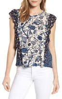 Lucky Brand Women's Mixed Print Ruffle Top