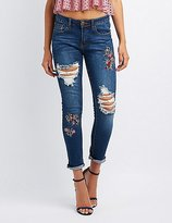 Charlotte Russe Machine Jeans Floral Embroidered Skinny Jeans