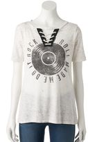 Rock & Republic Women's Lace-Up Graphic Tee