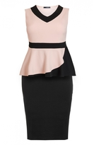 Quiz Curve Nude And Black V Neck Peplum Midi Dress