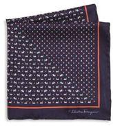 Salvatore Ferragamo Dog & Butterfly Printed Silk Pocket Square